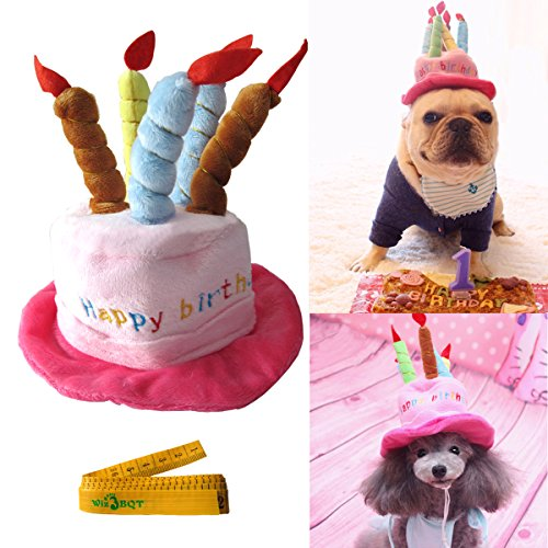 Cute Adorable Cat Dog Pet Happy Birthday Party Hat With Cake And 5 Colorful Candles Design Cosplay Costume Accessory Headwear For Dogs Cats